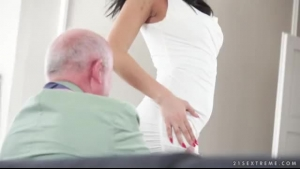 Dark Haired Woman Is Getting Banged In Many Positions, In A Massage Room At The Same Time