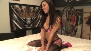 Sexy Brunette Gia Rossi Is Wearing Thigh High Boots With High Heels While Riding Her Boy's Stiff Dick