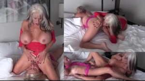 Lovely Ladies Are Having A Lesbian Threesome During An Orgy, Using A Strap-on To Spice It Up