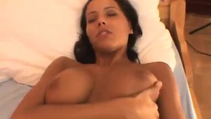Dark Haired Babe With Glasses Is Having Sex With Her Best Friend In His Huge Bed