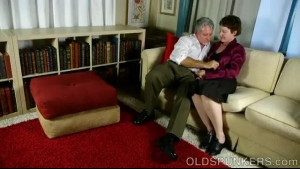 Dirty Grandma Is Getting Her Tight Ass Fucked Very Hard By Another Guy, On The Sofa