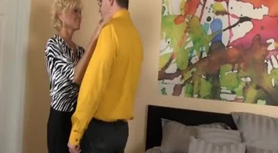 Naughty Blonde Lady Is Giving Free Blowjob Lessons To Her Daughter's Best Friend, Before Getting Fucked Hard