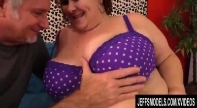 Fat Lady In Fishnet Outfit, Eliza Is Gently Sucking Her Bald Lover's Cock, While Outdoors