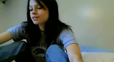 Gorgeous Dark Haired Teen Likes To Play With Her Friends In Her Living Room, Until She Cums