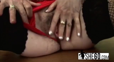 Sexy Granny In Nylons Dipping And Licking Muff