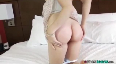 Racy Brunette In Red Blouse Is Toying Her Dripping Wet Pussy, While Her Roommate Is Watching
