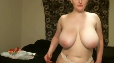 Blonde Lady With Big Tits, Ababda Was Wearing Black, Animal Printed Bra While Masturbating On The Floor