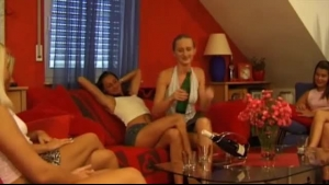 BxM Lesbian Orgy With A Brunette Blowing Slimehole