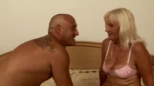 Blonde Granny Got Down And Dirty With Two Horny Submissives, At The Same Time, Just For Fun
