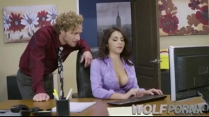 Horny Secretary Is Using A Slutty, Purple Dildo While Sucking A Hard Dick At Work