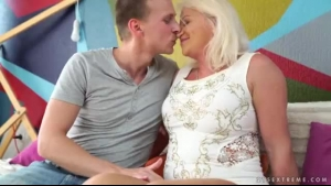 Lusty Mature Blonde Femdom Taking On Young Cock