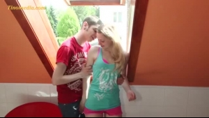 Slim Girl Is Kneeling Before Her Partner And Gently Sucking His Massive Dick To Make Him Cum