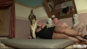 Fat, Blonde Woman Is Riding Her Partner's Hard Meat Stick, While He Is Fingering Her Wet Pussy