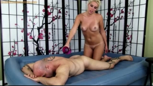 Hot Blonde Oils Her Nipples And Masturbates At The Shower Room