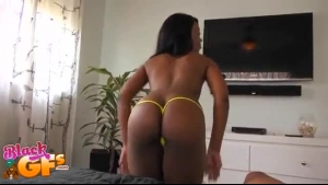 Frisky, Ebony Babe Is Giving A Footjob To Her Handsome Guy, And Expecting Tons Of Tasty Cum