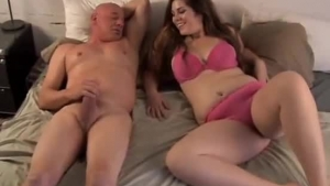 Big Titted Brunette Slut, Ava Andrews And Her Bald Lover Are Fucking Like Crazy, In The Bedroom