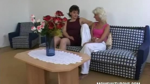 Two Mature Ladies Are Taking Turns Sucking Their Friend's Dick To Make Him Explode From Pleasure