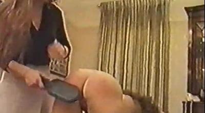 Spanking Brunette Milf Spreads Her Teen Pussy