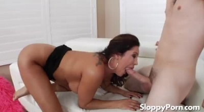 Busty Mommy Sucking Her Horny Dude