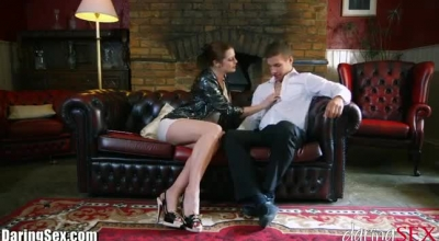 Gorgeous Brunette Lady, Kiera Knight Is Sucking Her Lover's Dick While Rubbing Her Clit From Pleasure