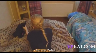Small Titted Blonde Babe Is Wearing A Blue Satin Robe And Drilling Her Round Ass With A Pink Dildo