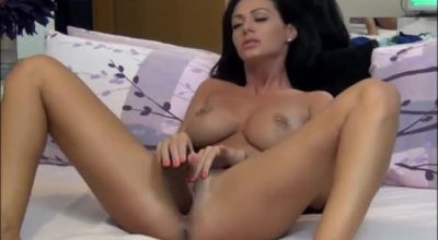 Gorgeous Brunette With Big Tits Is Getting Her Tight Fuckholes Filled Up With A Big, Glass Dildo