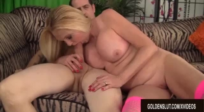 Blonde Woman In Green Shirt Is Offering Her Soaking Wet Pussy To A Guy She Likes A Lot