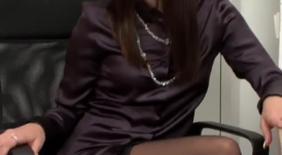 Classy Office Whore Getting An All Natural Pussy Massage