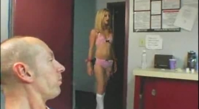 Slutty Blonde Is Wearing Mesh Dress While Licking Her Lover's Dick, Like Only A Whore