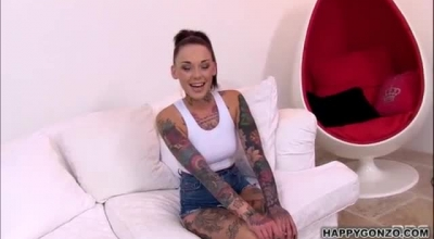 Incredible, Tattooed Blonde Is Sucking Her Best Friend's Dick And Getting Boots On During A POV Casting