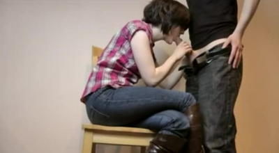 Hot Brunette With Small Tits Got Tied Up Inside A Building And Forced To Cum On The Floor