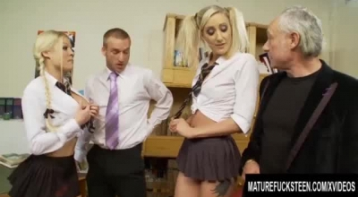 Teen Angel In Black Fishnets Strapon Action
