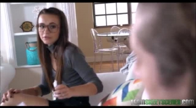 Petite Teen With Glasses Is Getting Her Pussy Licked In The Bedroom And Enjoying It A Lot