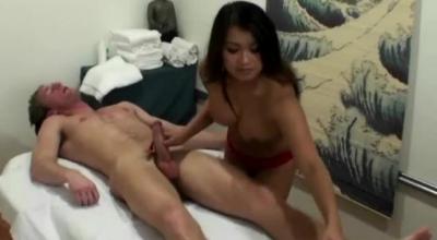 Slender Asian Masseur Sucking A Client