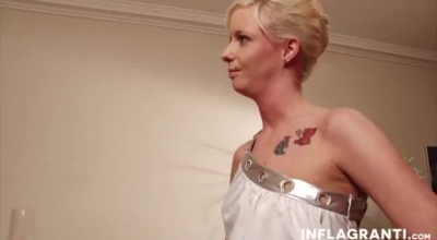 Heavily Tattooed, German Blonde Is Having Casual Sex In The Shower, In The Bathroom