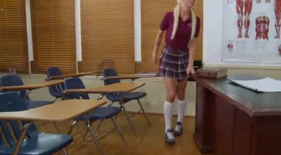 Gorgeous Blonde Teacher, Eliza Ibarra Is Having Wild Sex With Her Younger Student, On The Desk