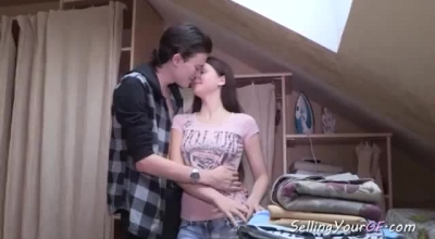 Russian Brunette With Small Boobs Is Getting Her Daily Dose Of Fuck, From Her Horny Boyfriend
