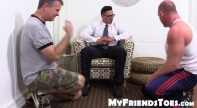 Three Good Looking Babes Are Sharing Their Handsome Friend's Huge Dick On The Couch