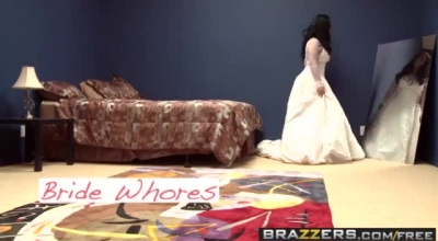 Hot Bride In A Golden Dress Takes Her Man In The Ass