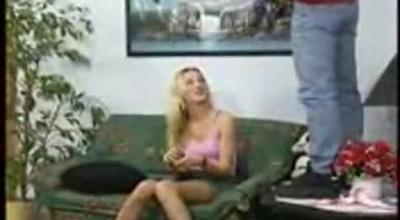 Blonde Babe Drinking Hot Water