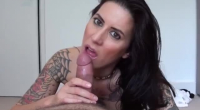 Tattooed Chick With Glasses, Lena Paul Was Eagerly Sucking A Married Dude's Hard Dick