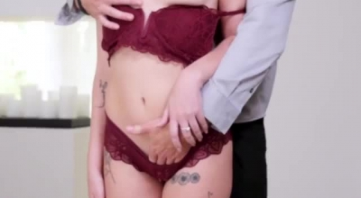 Emily Willis Is Kneeling In Front Of Her Landlord And Deepthroating Like Crazy, To Get Enough Money