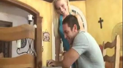 Slutty Blonde Slut Is Fucking Her Husband's Tattooed Friend And Getting Fucked Good, In The Kitchen
