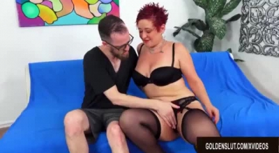 Innocent Redhead Scarlett Starr, Climbs The Adult Movie Theater Table To Rub Wet Pussy On Big Cock