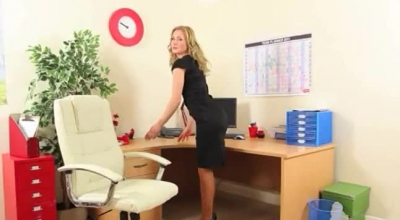 Sexy Secretary In Pink, Crystal Gloryhole Shirt Got Down On Her Knees To Give A Blowjob To Her Boss