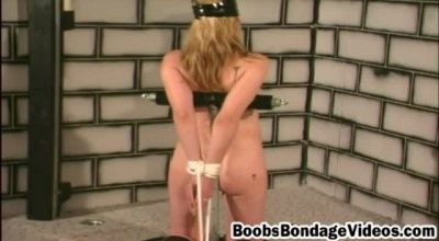Blindfolded Blonde Granny Is Getting Fucked In The Bathroom, By A Guy Who Isn't Her Husband