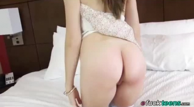 Racy Brunette Asian Pussy Rubbed Gently