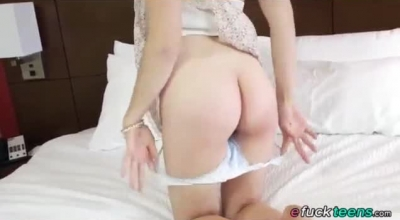 Racy Brunette Is Gently Sucking Her Partner's Dick To Turn Him On A Bit More.