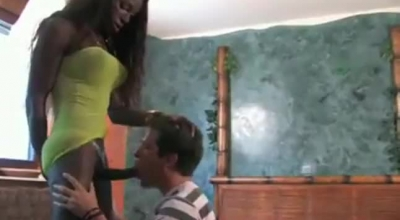 Ebony Shemale In Schoolgirl Uniform Gets Down And Dirty With A Nubile Of A Black Guy