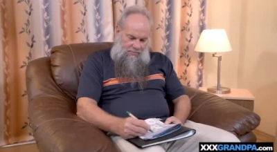 Sexy Brunette Grandpa Gets A Mini Raise Of Around 20 Dollars With Everyone Cranking On His Dick.